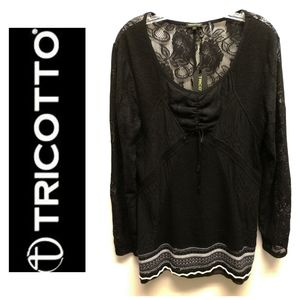 NWT-Tricotta-Black Lace Sweater Tunic-Size L
